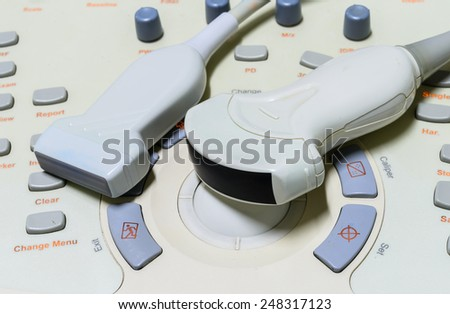 Close up ultrasound machine detail, ultrasound machine - stock photo