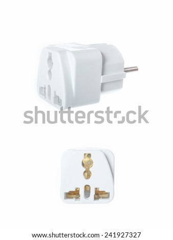 Close up universal American to European travel adapter converter plug. UK and USA to EU converter plug adapter outlet, view from back and aside. Object isolated on white background without shadows - stock photo