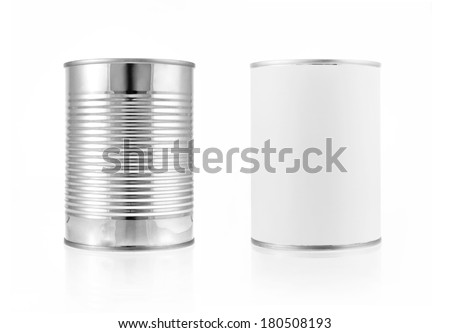 Close-up various metal and white tin can on white background separated shot. Include clipping path in both object. - stock photo