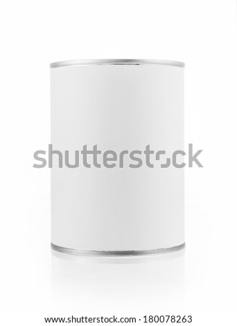 Close-up various white tin can on white background. Include clipping path. - stock photo