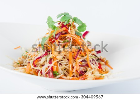 Close up Vegetarian Delisious diet vegetable salad in a white plate isolated - stock photo