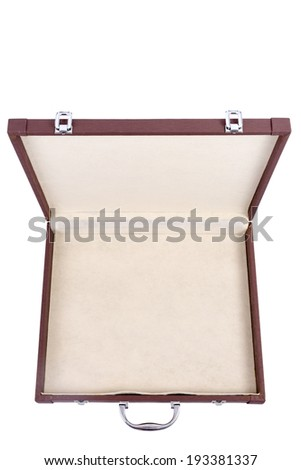 Close up view a brown business briefcase isolated on a white background. - stock photo