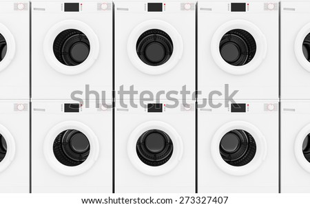 Close-up View at Row of Modern Washing Machines Abstract Background. Laundry Concept - stock photo