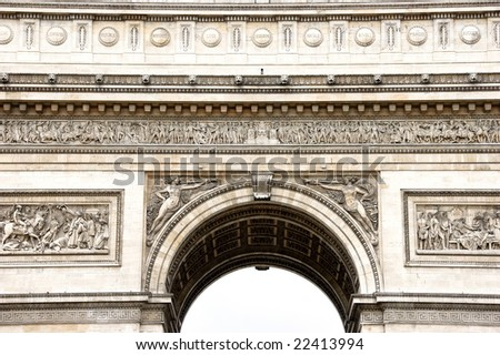 Close-up view from below of Arc de Triomphe stone decorations - stock photo