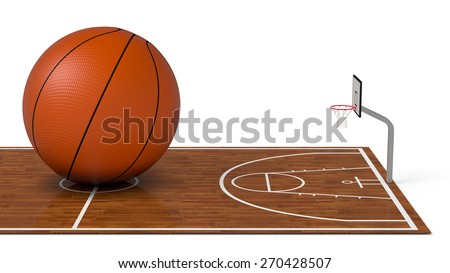 close-up view of a basketball field with a big ball on white background (3d render) - stock photo
