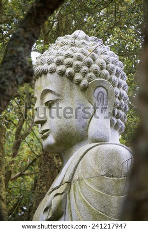 Close up view of a beautiful Buddha statue on a park. - stock photo