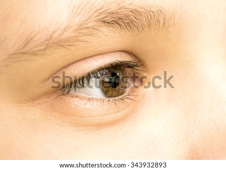 Close up view of a brown eye - no make up on - stock photo