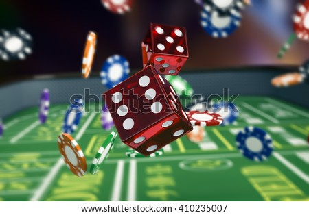 close up view of a craps table with dices and fiches (3d render) - stock photo