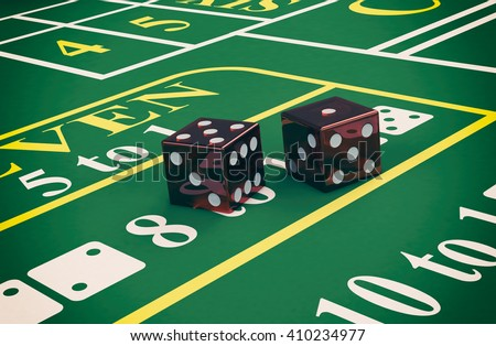 close up view of a craps table with dices (3d render) - stock photo