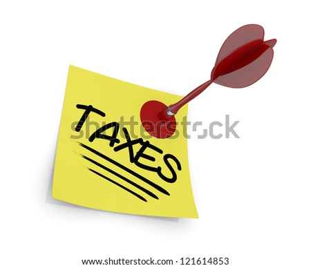 close up view of a dart and a sticky note with text: taxes (3d render) - stock photo