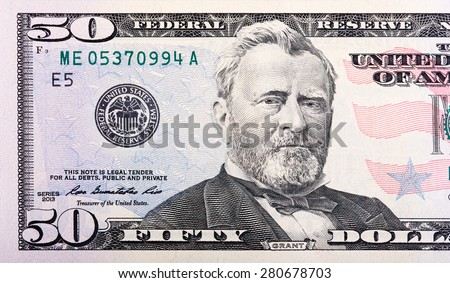 Close-up view of a 50 dollar United States treasury bill. - stock photo