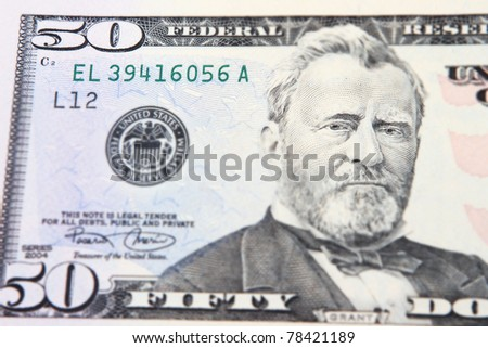 Close-up view of a 50 dollar United States treasury note - stock photo