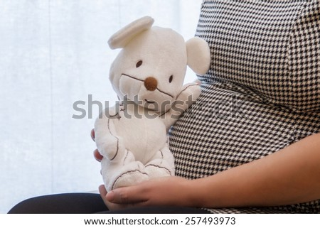 Close up view of a expecting pregnant woman holding a stuffed toy. - stock photo