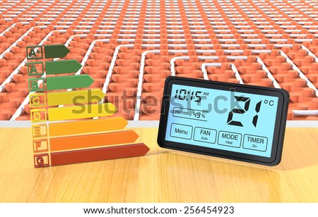 close up view of a floor heating system with a programmable thermostat and an energy efficiency scale (3d render) - stock photo