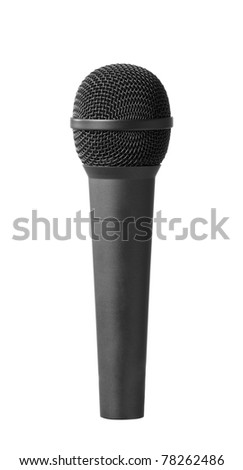Close-up view of a modern black microphone. Isolated - stock photo