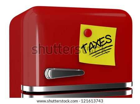 close up view of a refrigerator with a yellow sticky note and text: taxes (3d render) - stock photo