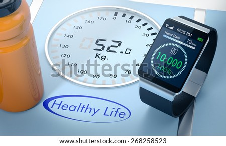 close-up view of a smartwatch with fitness app and a digital bathroom scale (3d render) - stock photo
