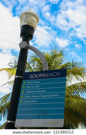 Close up view of a South Beach street sign in Miami Beach. - stock photo