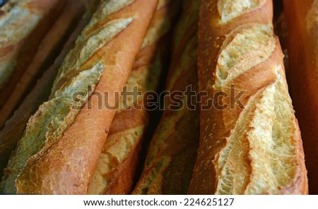 Close-up View of a stack of Crisp Fresh Baked French Bread Sticks. - stock photo