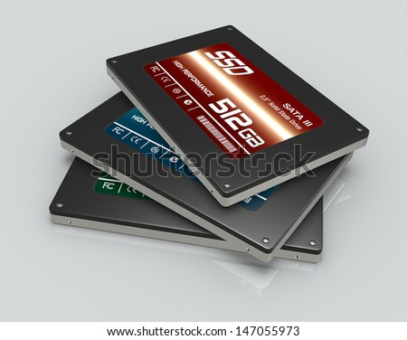 close up view of a stack of solid state drives (3d render) - stock photo