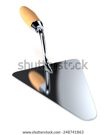 close up view of a trowel on white background (3d render) - stock photo