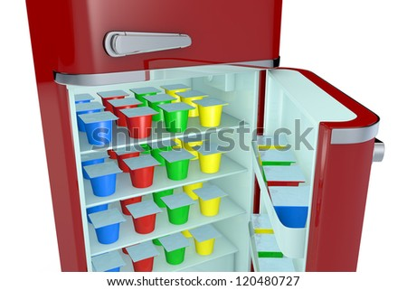 close up view of a vintage fridge full of colored yogurt cups (3d render) - stock photo