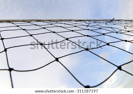close-up view of a  volleyball net - stock photo