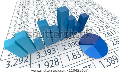 close up view of bar chart, pie chart  and a spreadsheet (3d render) - stock photo