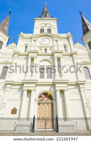 Close up view of beautiful Saint Louis Cathedral in the French Quarter in New Orleans, Louisiana. - stock photo
