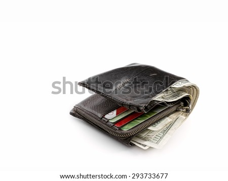 close up view of big fat wallet on white back - stock photo