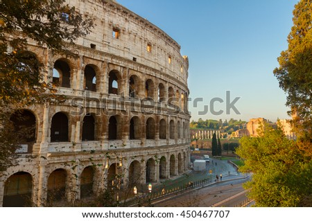 close up view of Colosseum building in Rome, Italy - stock photo