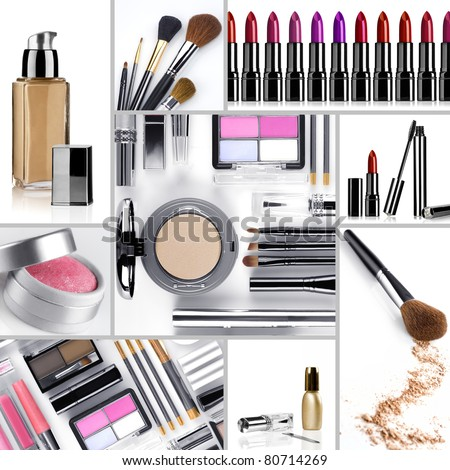 Close up view of cosmetic theme objects on white back - stock photo