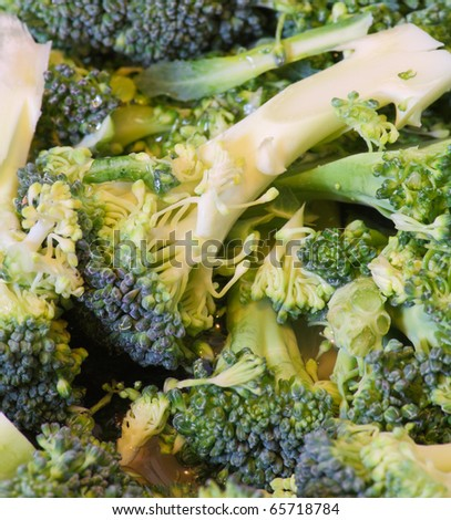 Close up view of cut broccoli florets - stock photo