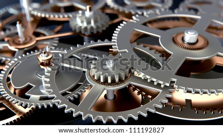 close up view of gears - stock photo