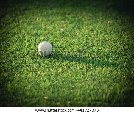 Close-up view of golf ball on the green grass. Golf ball on fairway of beautiful golf course at summer sunset. Success, competition and leisure, lifestyle concept. Vintage filter look with copyspace. - stock photo