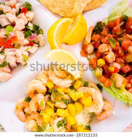 Close up view of gourmet ceviche with fish, shrimp, and conch on a white plate. - stock photo