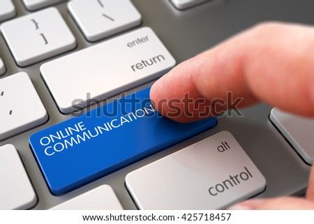 Close Up view of Male Hand Touching Online Communication Computer Keypad. Man Finger Pushing Online Communication Blue Keypad on Modern Keyboard. Online Communication Concept. 3D Render. - stock photo