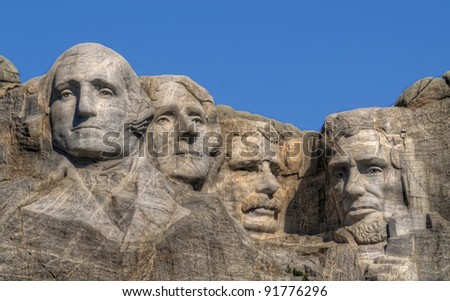 close-up view of Mt. Rushmore - stock photo