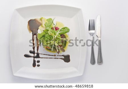 Close up view of nice delicious meal on white back - stock photo