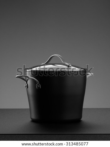 close up view of nice pot set on grey color back - stock photo