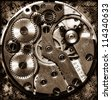 Close up view of old clock's gears - stock photo