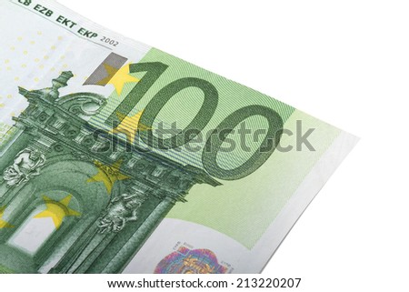 Close up view of one hundred euro money banknote., isolated on white background. - stock photo
