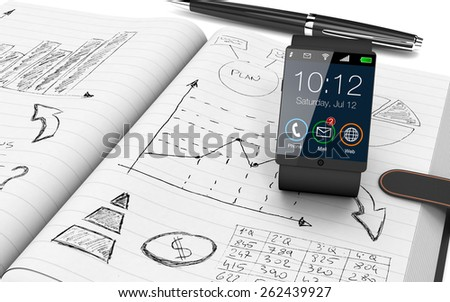 close up view of paper notebook with hand drawn doodles of a business plan, a smart watch and a pen on background (3d render) - stock photo