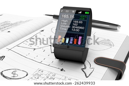 close up view of paper notebook with hand drawn doodles of a business plan, a smart watch with a financial app and a pen on background (3d render) - stock photo