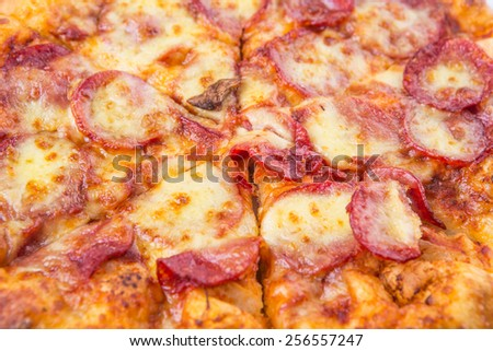 Close up view of pepperoni and cheese pizza - stock photo