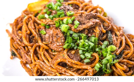 CLose up view of popular Malaysian stir fried noodles  - stock photo