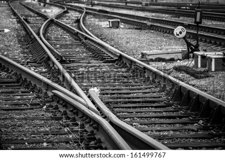 Close up view of railway tracks - stock photo