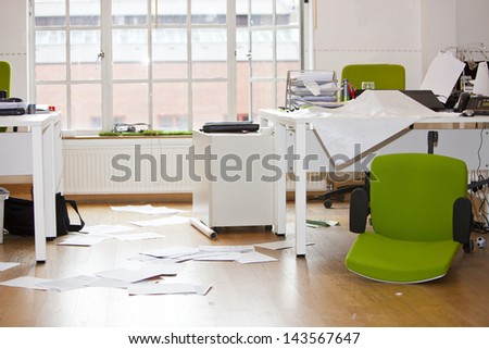 Close-up view of ransacked office - stock photo