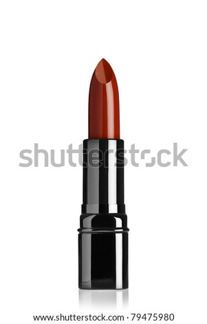 Close up view of red color lip stick on while back - stock photo