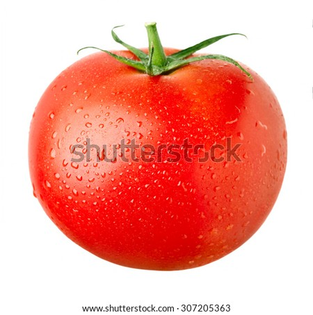 close-up view of ripe red tomato isolated on white background - stock photo